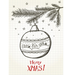 Christmas bauble on the christmas tree vector image vector image