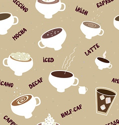 Coffee seamless pattern of different kinds vector image vector image