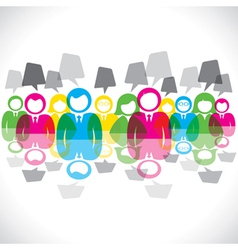 color businessmen meeting message bubble vector image