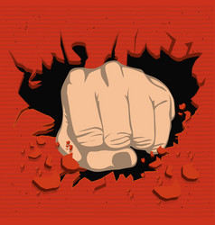 Colorful realistic fist breaking wall vector
