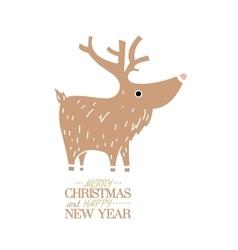 Cute brown deer New Year Christmas Holiday vector image vector image