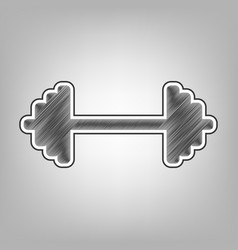 Dumbbell weights sign pencil sketch vector