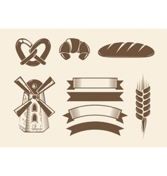 Elements for vintage bakery logotypes logos vector