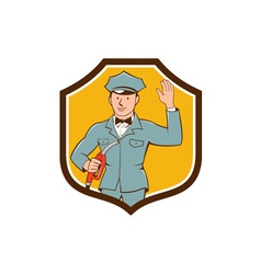 Gas jockey attendant waving shield cartoon vector