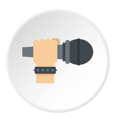 Hand microphone icon circle vector