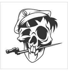 Military skull bite a dagger vector