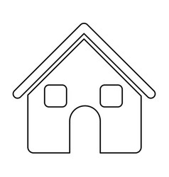 Monochrome contour of house two floors in white vector