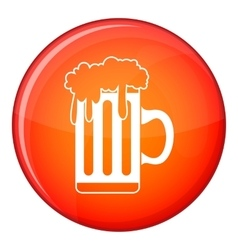 Mug with beer icon flat style vector image vector image