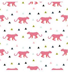 pink panther animal seamless pattern vector image