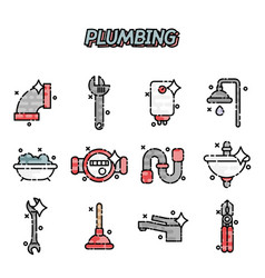 plumbing flat concept icons vector image vector image