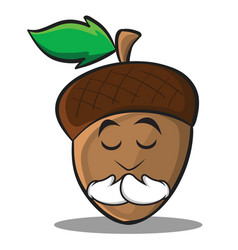 praying acorn cartoon character style vector image