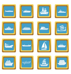Sea transport icons azure vector