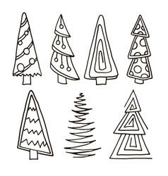 set of christmas trees hand drawn vector image vector image