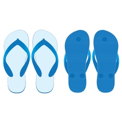 Slippers set of front view and back view isolated vector