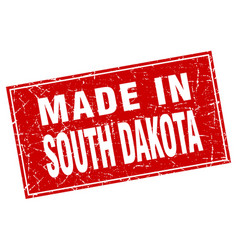 south dakota red square grunge made in stamp vector image vector image