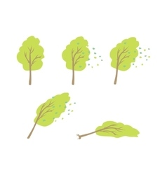 Strong wind topple tree in flat design vector