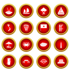 Vietnam travel icon red circle set vector