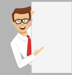 young businessman showing empty blank board vector image vector image