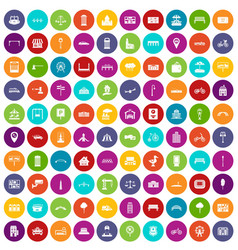 100 city icons set color vector