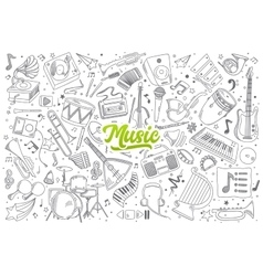 Music doodle set with lettering vector image