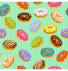 Sweet heart donuts texture striped background with vector image