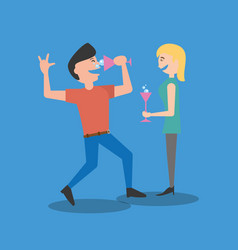 couple dancing drinking celebration vector image