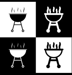 Barbecue simple sign  black and white vector
