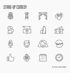 Set of thin line icons on theme stand up vector