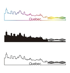 Quebec skyline linear style with rainbow vector