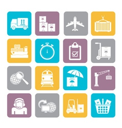 Silhouette Cargo and logistic icons vector image