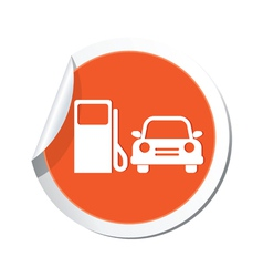 petrol station AND car4 ORANGE LABEL vector image