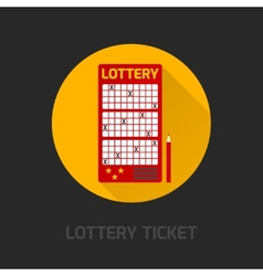 Lottery card icon flat vector