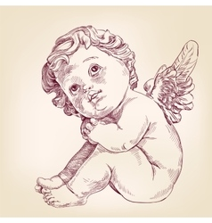 Angel or cupid little baby l hand drawn vector