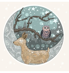 Cute dreaming deer background vector