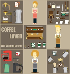 Coffee lover cartoon and icon design vector