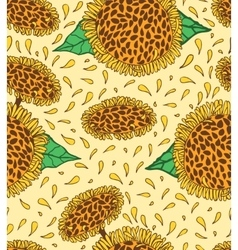 Sunflowers seamless pattern hand drawn sunny vector image