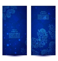 Blue floral banners vector