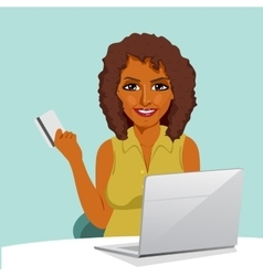 African american woman with laptop shopping online vector
