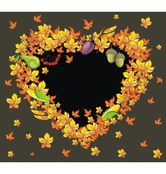 Autumn heart background vector image vector image