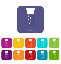 Blood test icons set flat vector