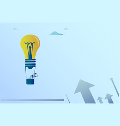 Business man flying on light bulb air balloon vector