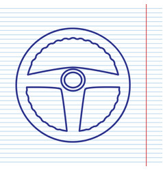 Car driver sign navy line icon on vector