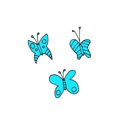 Cartoon butterfly flat sticker icon vector image vector image