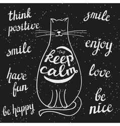 chalkboard styled cat and positive messages vector image