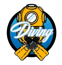 Color vintage diving emblem vector