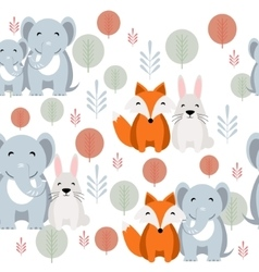 Cute animal seamless pattern with elephant vector image