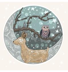 Cute dreaming deer background vector image vector image