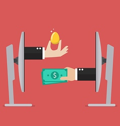 Exchange golden egg and money online vector image vector image