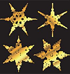 Golden snowflake designs vector image