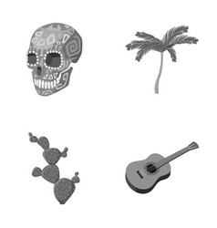 Green skull with a picture a palm tree a guitar vector